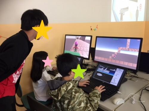 高知開成専門学校 日翔祭/生徒さんの作ったゲームに夢中な子供たち